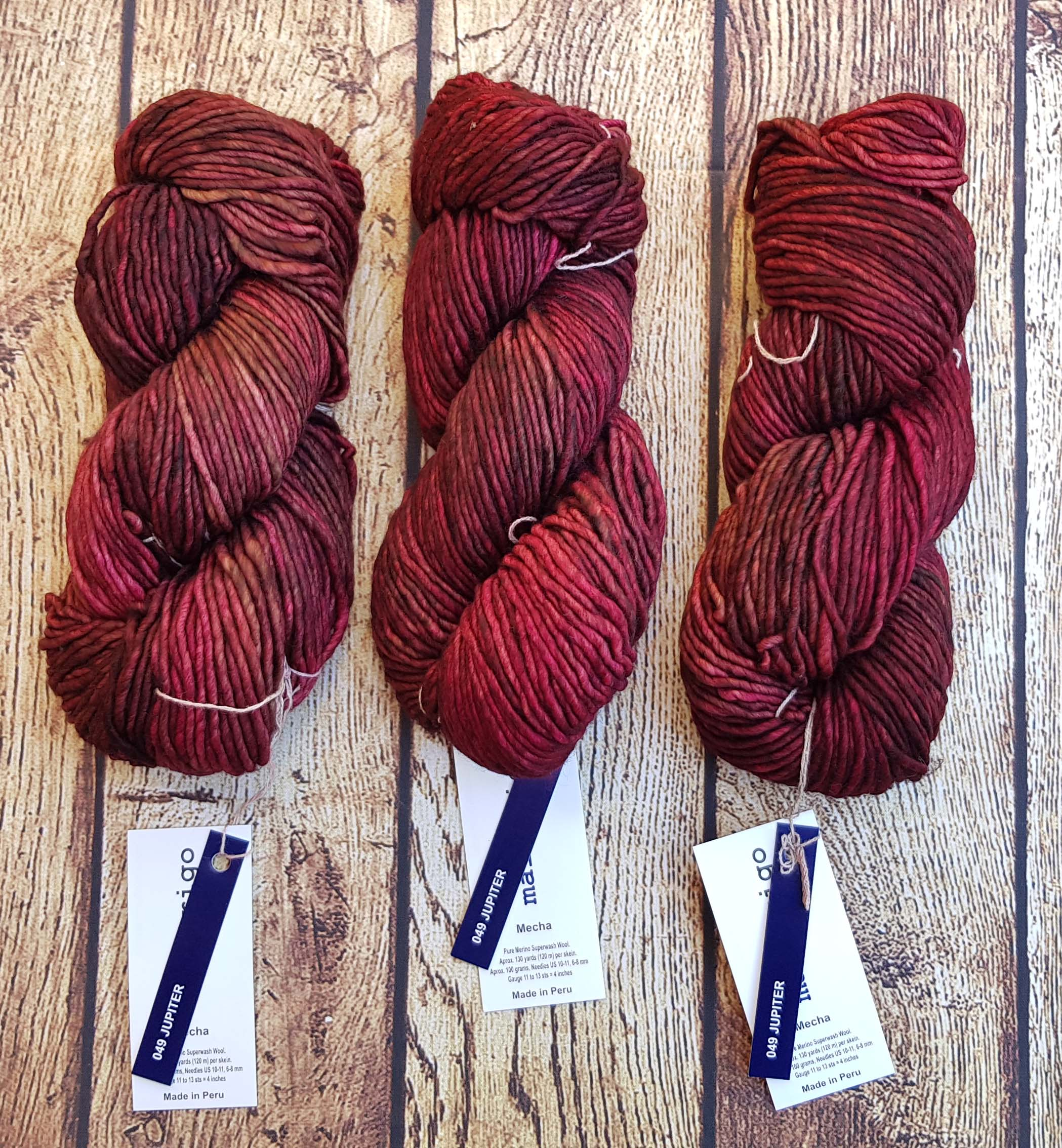 Bordovo vínovo červená Mecha Malabrigo - 049 Jupiter- 100% Superwash merino vlna